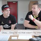 Darren Cave (right) and Andrew Trimble prank-call South African team-mate Marcell Coetzee.