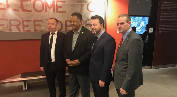 Rev Jesse Jackson being shown around the Museum of Free Derry by SDLP leader Colum Eastwood, MLA who was mayor of when the Saville Report was published in 2010 and is a former member of the Bloody Sunday Trust. Also pictured are Councillor Brian Tierney, who is a member of the Bloody Sunday Trust / Museum of Free Derry, and Councillor Martin Reilly, a former mayor of the city.