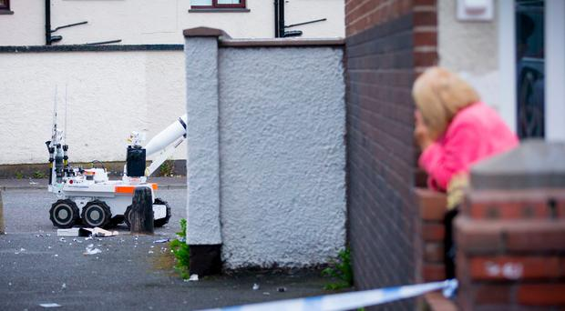 The scene of a security alert in the Horn Drive area of west Belfast close to Woodbourne Police Station