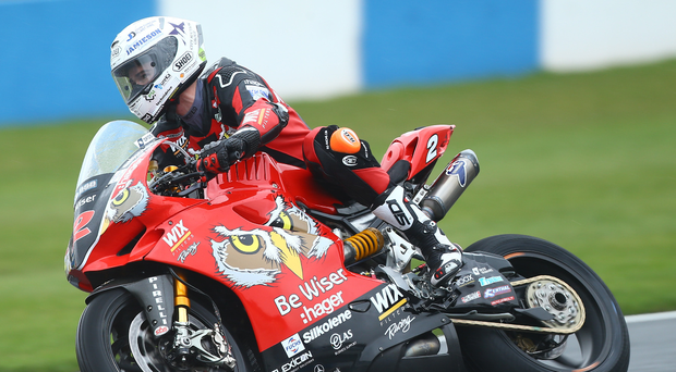 British Superbike rider Glenn Irwin on his factory Ducati