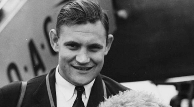Roaring success: Robin Thompson on the 1955 Lions tour, where he captained the squad despite being only 23 years of age