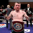 Paddy Barnes defeats Silvio Olteanu during Saturday night's contest for the vacant WBO European Flyweight Championship at the Waterfront Hall, Belfast. 17th June 2017 - Photo by William Cherry Press Eye