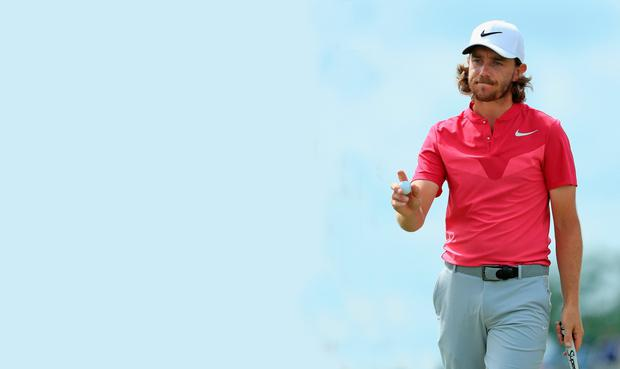 Tommy Fleetwood of England reacts after making par on the sixth green during the third round of the 2017 U.S. Open at Erin Hills on June 17, 2017 in Hartford, Wisconsin. (Photo by Richard Heathcote/Getty Images)