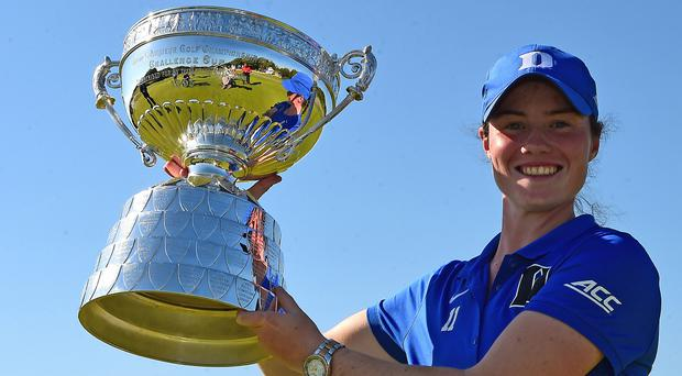Rising star: Leona Maguire with the Amateur Open trophy. Photo: Richard Martin-Roberts/Getty Images