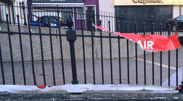 One of the Fuse FM Mourne banners that was vandalised in the early hours of Sunday morning.