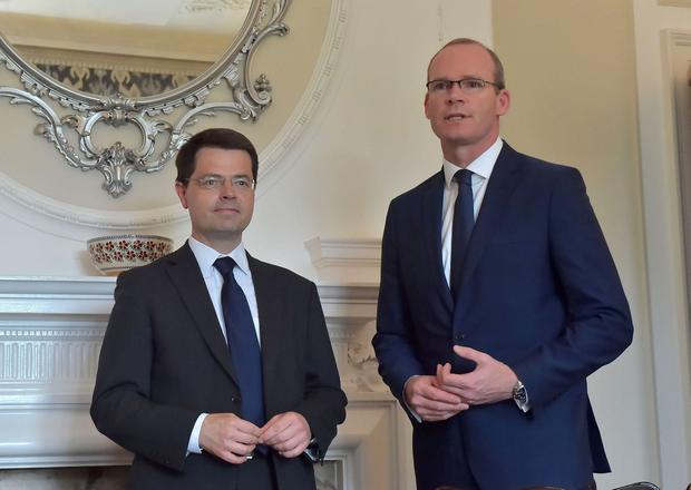 Northern Ireland Secretary of State James Brokenshire is pictured with Irish Foreign Minister Simon Coveney who is taking part in the talks for the first time.