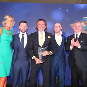 OVERALL WINNER The Overall Sunday Life Spirit of Northern Ireland winner 2017 is Willie Gregg from Coleraine. Presenting Willie with his award is Martin Breen, editor of the Sunday Life, Brian OÕKane, Chairman, Specsavers Northern Ireland and member of the judging panel, Eamonn Holmes. Willie was one of ten winners one the night which was held at the Culloden Resort and Spa.