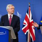 EU Chief Brexit Negotiator Michel Barnier, right, and British Secretary of State David Davis make statements as they arrive at EU headquarters in Brussels on Monday, June 19, 2017. (AP Photo/Virginia Mayo)