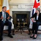 Prime Minister Theresa May meets new Taoiseach Leo Varadkar inside 10 Downing Street, London. Philip Toscano/PA Wire