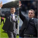 Big influence: David Healy (left) says a day at Melwood training ground with then Liverpool boss Brendan Rodgers (right) made him want to be a manager.