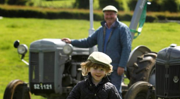 Robert Berry, Farm Manager at the Ulster Folk & Transport Museum in Cultra, shows budding farmer Matthew Gardner from Holywood some of the fleet of Ferguson tractors. Photography by Matt Mackey /Presseye