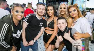 Festival goers out for the 4th night Belsonic to see Dutch EDM DJ Martin Garrix, with support acts, Don Diablo, and Justin Mylo, at the Ormeau Embankment, Belfast. Monday 19th June 2017 Liam McBurney/RAZORPIX