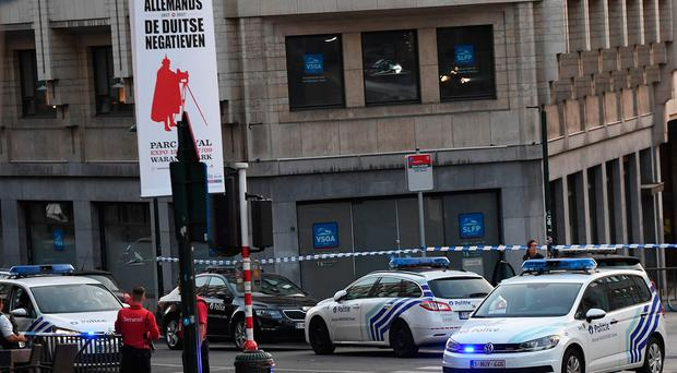 Police vehicles cordon off an area outside Gare Central in Brussels on June 20, 2017, after an explosion in the Belgian capital. / AFP PHOTO / Emmanuel DUNANDEMMANUEL DUNAND/AFP/Getty Images