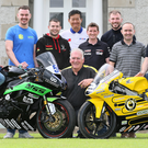 Ready to go: Armoy road races Clerk of the Course, Bill Kennedy, is joined by road racers Dominic Herbertson, Adam McLean, Neil Kernoghan, Darryl Tweed, Roger Chen, Christian Elkin, Paul Jordan, Paul Robinson, Gary Dunlop and William Dunlop at the launch of the 2017 Armoy Road Races