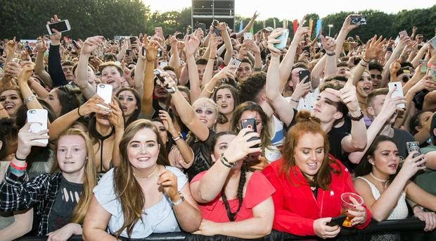 Fan cheer as Dutch EDM DJ Martin Garrix takes the stage to perform at the 4th night of Belsonic on the Ormeau Embankment, Belfast. Monday 19th June 2017 Liam McBurney/RAZORPIX