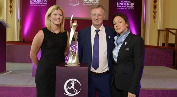 Drawing strength: NI international Julie Nelson, senior men's boss Michael O'Neill and Nadine Kessler from Uefa at yesterday's Uefa Under-19 Championship draw at Belfast City Hall