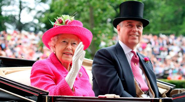 The Queen and Prince Andrew during day three of Royal Ascot