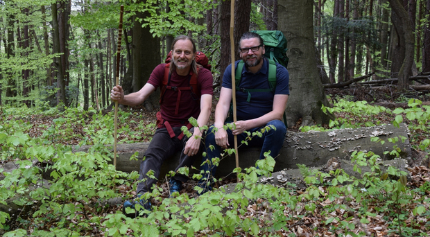 Eamonn Donnelly (right), originally from Keady, and Sepp Tieber, from Austria, who are trekking across Europe for charity