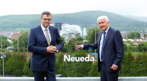 Pictured from left to right are: Alastair Hamilton, CEO of Invest NI and Brendan Monaghan, CEO of Neueda. Photo by Kelvin Boyes / Press Eye.