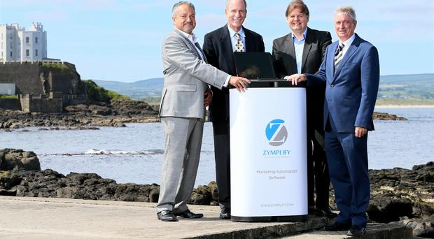 Photo Caption - Seen here making the announcement on £1m investment for Zymplify based in Portstewart Promenade, is (R) Michael Carlin CEO Zymplify, Steve Lesser Boston based new investor, Raj Kapoor current investor and Leo Donnelly, Client Advisor, InvestNI. This investment will create new knowledge based jobs on the north coast, and ensure continued growth for this automated marketing software company