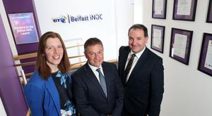 Pictured in the BT iNOC are: Valerie Wilson, Head of Managed Services at BT in Northern Ireland, iNOC customer, Gordon Milligan from Translink and Paul Murnaghan, Regional Director, BT Business in Northern Ireland