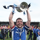 Looking sharp: Linfield skipper Jamie Mulgrew proudly holds aloft the Gibson Cup at Solitude. Photo: Charles McQuillan/Pacemaker