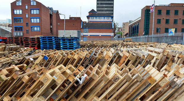 Hundreds of pallets at Sandy Row bonfire site yesterday. Photo: Stephen Hamilton/Presseye