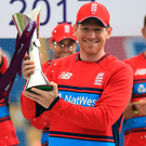 Rest day: Eoin Morgan did not play but collected trophy