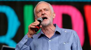 Jeremy Corbyn, who lost the general election, on stage at Glastonbury