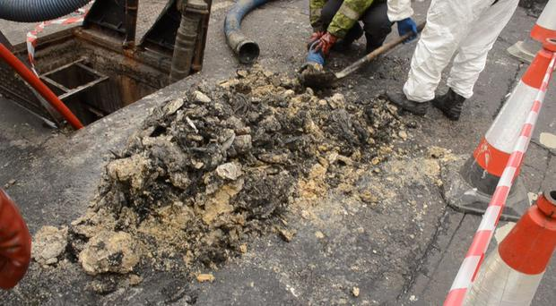 Grease pile from 'fatberg' on Dublin Road
