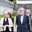 Sinn Fein's Gerry Adams and Michelle O'Neill speak to the media at the Glasshouse in Stormont estate as talks continue. Pic Colm Lenaghan/Pacemaker