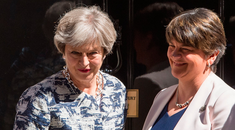 Prime Minister Theresa May greets DUP leader Arlene Foster outside 10 Downing Street in London ahead of talks aimed at finalising a deal to prop up the minority Conservative Government. PRESS ASSOCIATION Photo. Picture date: Monday June 26, 2017. Photo credit should read: Dominic Lipinski/PA Wire