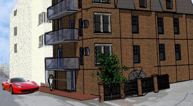 An artist's impression how Ramore Hall could look, with five apartments along with an underground car park