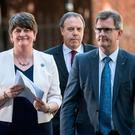 Arlene Foster, Nigel Dodds and Jeffrey Donaldson outside No 10