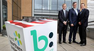 Pictured at the announcement (L – R) Paul Hill, Director of Software Engineering at Bazaarvoice, Alastair Hamilton, Invest Northern Ireland CEO and Gary Allison, Executive Vice President of Engineering at Bazaarvoice. Press Eye - Belfast - Northern Ireland - 27th June 2017 - Photo by William Cherry