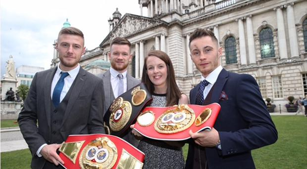 Belfast boxers Paul Hyland Junior, James Tennyson and Ryan Burnett with Lord Mayor of Belfast Nuala McAllister.
