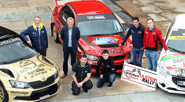 Gearing up: The Ulster Rally will bring together a range of competitors from motorcycle ace Michael Dunlop to 15-year-old navigator Eathan Coglan (front and centre) as well as Gordon Noble, Rory Kennedy, Callum Devine and Adam Bustard