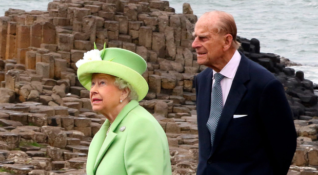 The Queen and Prince Philip at the Giant's Causeway last year