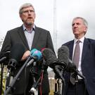 Sinn Fein MLAs John O'Dowd, left, and Mairtin O Muilleoir speak to the media during a press conference at Stormont Castle on June 18, 2017. [Photo by Kelvin Boyes / Press Eye]