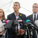 The DUP's Edwin Poots(centre), Michelle McIlveen and Christopher Stalford speak to the media at Stormont Castle in east Belfast where local parties are holding talks ahead of this afternoon's deadline to get the Northern Ireland Assembly up-and-running. Picture by Jonathan Porter/PressEye.com
