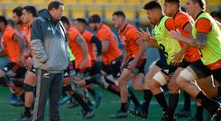 Fighting fit: Steve Hansen oversees an All Blacks training session in Wellington yesterday ahead of the second Test