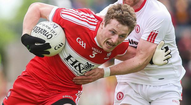 Case for the defence: Derry full-back Brendan Rogers is determined to maintain a streak of clean sheets