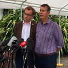 DUP's Edwin Poots (right) and Christopher Stalford speaking to the media at Stormont Castle on Friday June 30, 2017. David Young/PA Wire