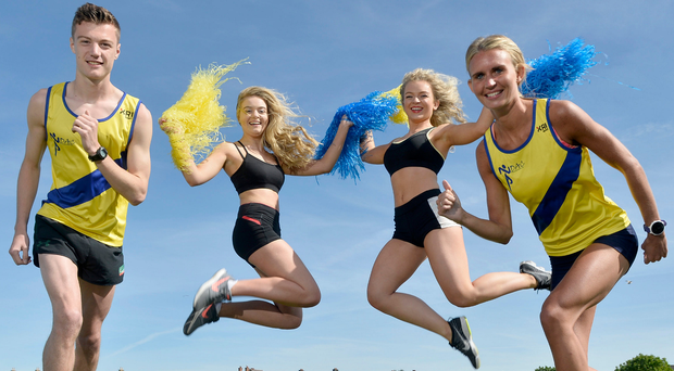 Flying high: The Bangor 10K is set to scale new heights this year with George Best Belfast City Airport on board as a new sponsor of the event. Helping to launch this year's race on Saturday, September 30 are local runners Craig McMeechan and Jessica Craig along with cheerleaders Phoebe Preston and Amy Bloomfield. To register for the event, visit www.northdownac.co.uk