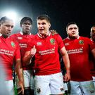 'And basically, it was all down to me,' is probably NOT what Owen Farrell is saying as he talks to his Lions team-mates after the big win.