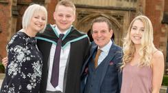 Ryan Stewart from Portadown has graduated with a First Class Honours degree in Computer Science from Queen's Univesrity Belfast. He is pictured with his parents, Jayne and Ian, and sister Beth.