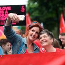 Actress Bronagh Waugh joins campaigners calling for the introduction of same sex marriage in Northern Ireland. Niall Carson/PA Wire