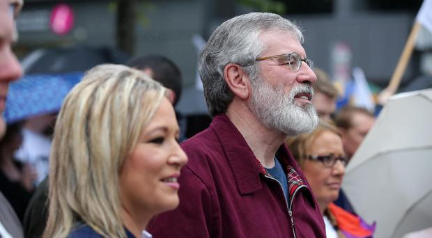 Sinn Fein leaders Gerry Adams and Michelle O'Neill at the march for Civil Marriage Equality in Belfast City Centre. Photo by Kelvin Boyes / Press Eye.