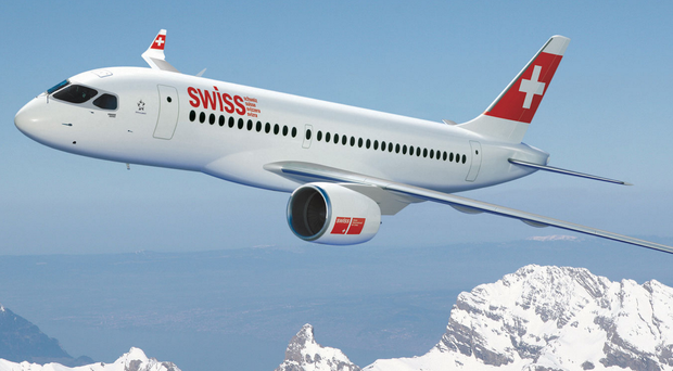 One of Bombardier's Swiss Air C Series jets