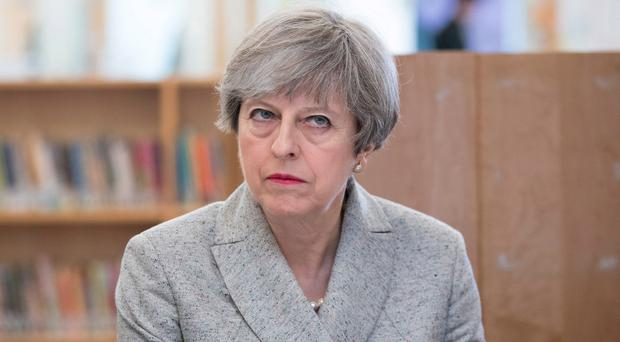 Not amused: Prime Minister Theresa May
